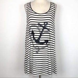 Free People Striped Anchor Tank Top